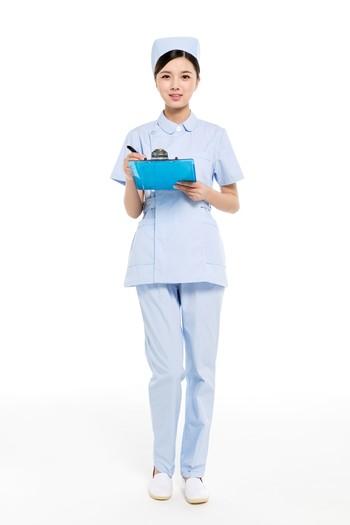 夏装蓝色分体大小领护士服