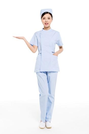 夏装蓝色分体偏襟立领护士服
