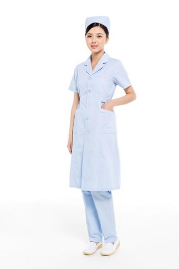 夏装蓝色上下圆领护士服