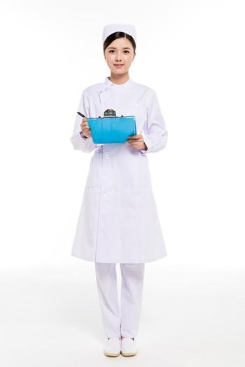 冬装白色偏襟立领护士服