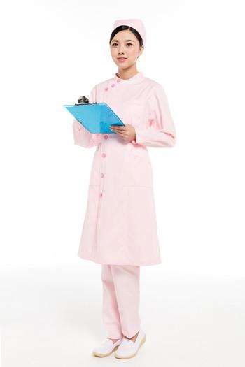 冬装粉色偏襟立领护士服
