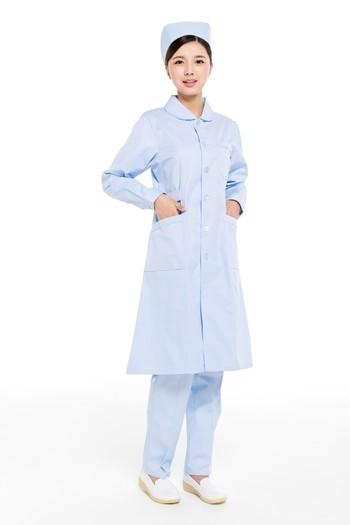冬装蓝色圆领护士服