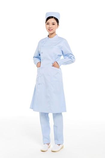 冬装蓝色偏襟立领护士服