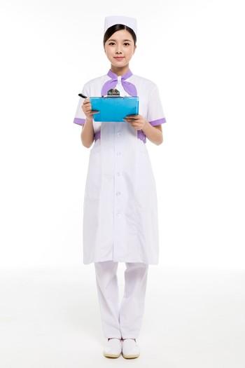 夏装白色带领结护士服