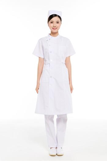 夏装白色偏襟立领护士服