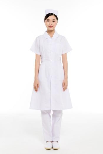 夏装白色小圆领护士服