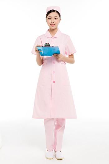 夏装粉色小圆领护士服