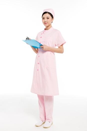 夏装粉色偏襟立领护士服
