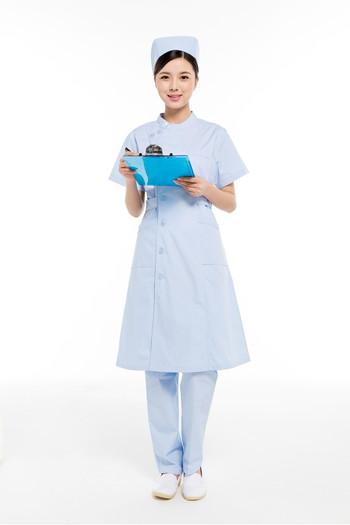 夏装蓝色偏襟立领护士服