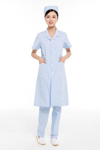 夏装蓝色西服领护士服