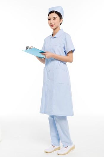 夏装蓝色小圆领护士服