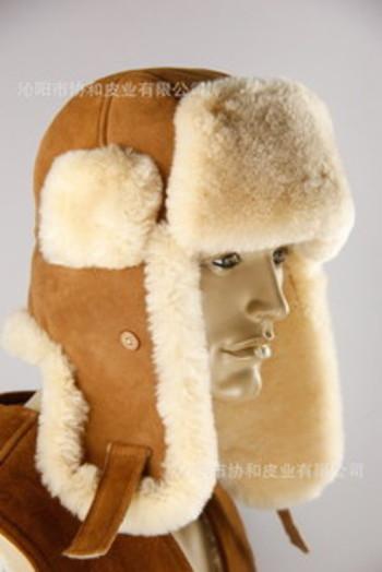 皮毛一体男士冬季户外帽,骑行帽,加厚护耳雷锋帽