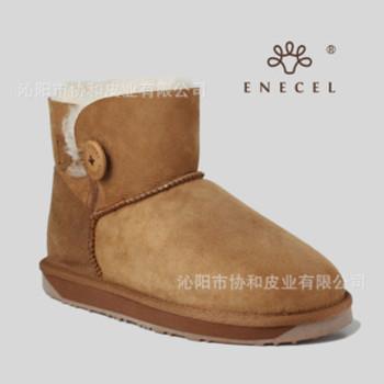 羊皮毛一体雪地靴 杨幂同款 短靴 mini木扣低筒ENECEl 正品