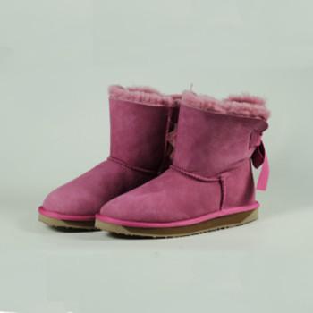 澳洲羊皮毛一体纯色雪地靴 经典低短筒保暖女靴子潮流