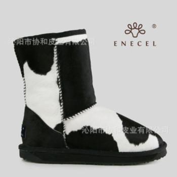 正品 奶牛毛 雪地靴 中筒 羊皮毛一体 胎牛皮 纯羊毛 女靴