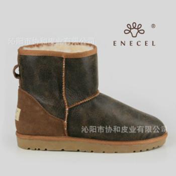 男款雪地靴 冬季男棉靴 羊皮毛一体 短筒 低筒 牛筋底大码