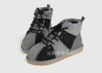 新款情侣雪地靴 撞色 羊皮毛一体 短筒 系带男女靴子