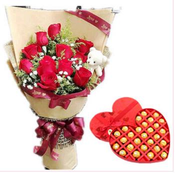 9只精品红玫瑰 可爱玩偶熊一只;27颗进口费?#26032;?#24039;克力,公仔一个(公仔随机发货,以实际收到的为准)468元